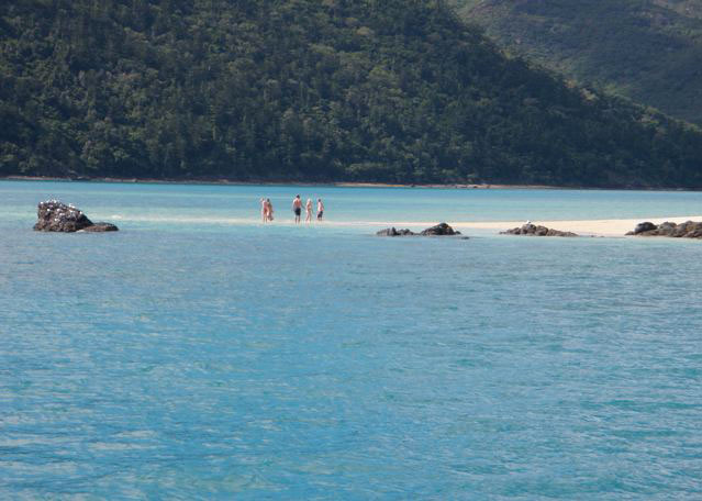 SV Domino - happy to be on the beach in the whitsundays