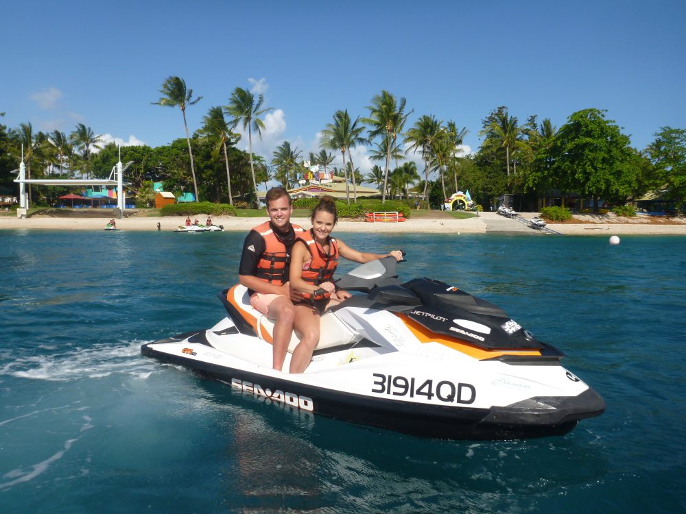 Whitsunday Jetski Tours - 2 island Safari - couple enjoying the water